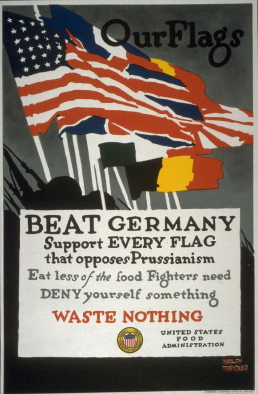 Our Flags Beat Germany - World War I Poster
