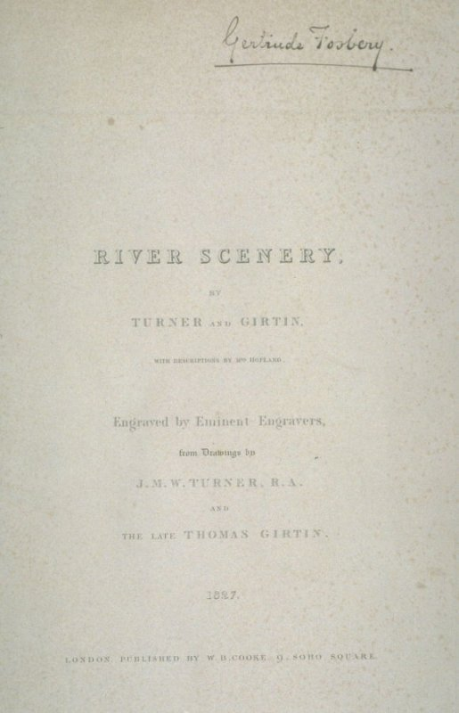 Cover sheet of River Scenery, by Turner and Girtin, with Descriptions