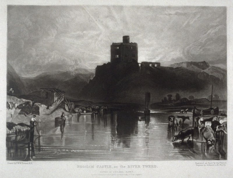 Plate 6: Norham Castle on the River Tweed, from the series 'The Rivers of England' (1823-1827)