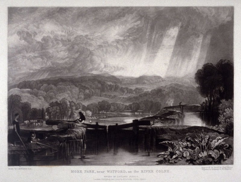 Plate 4: More Park, near Watford, on the River Colne, from the series 'The Rivers of England' (1823-1827)