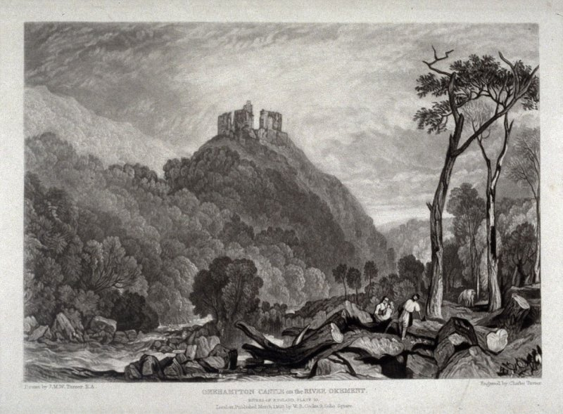 Plate 10: Okehampton Castle on the River Okement, from the series 'The Rivers of England' (1823-1827)