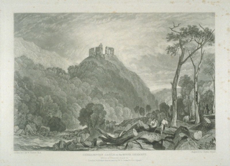 Plate 10: Okehampton Castle on the River Okement, from the series 'The Rivers of England'
