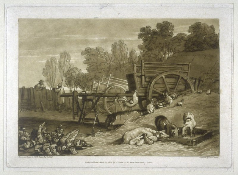 The Farmyard with the cock, from Turner's 'Liber Studiorum'