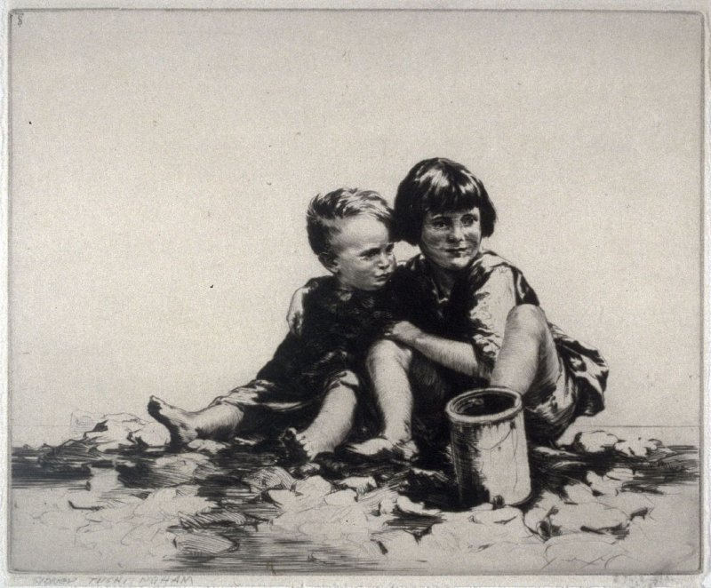 Peter and Joan (Two children on a beach seated next to each other)