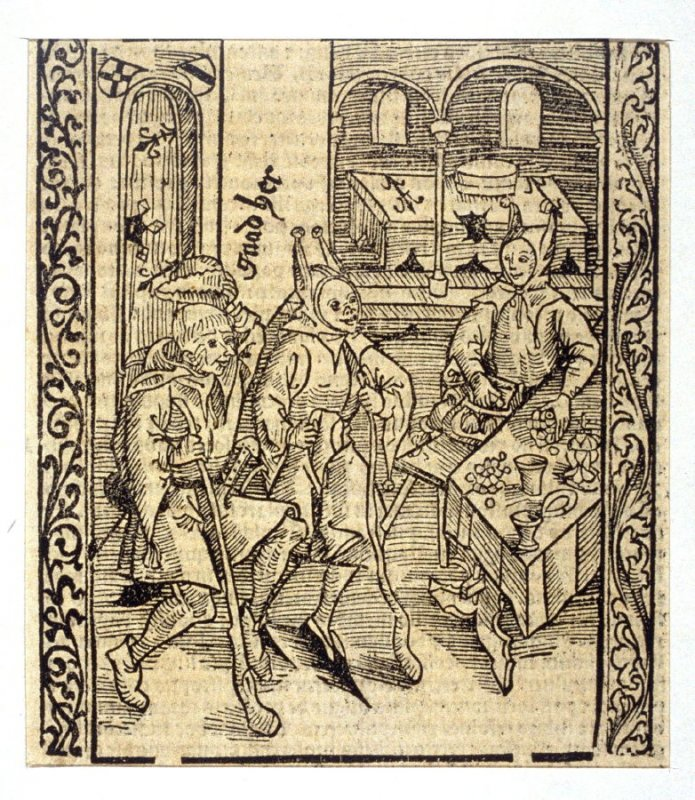 """Miser Fool: woodcut illustration for the original edition of the """"Narrenschiff"""" (Ship of Fools), taken from the Latin reprint edition Basel"""