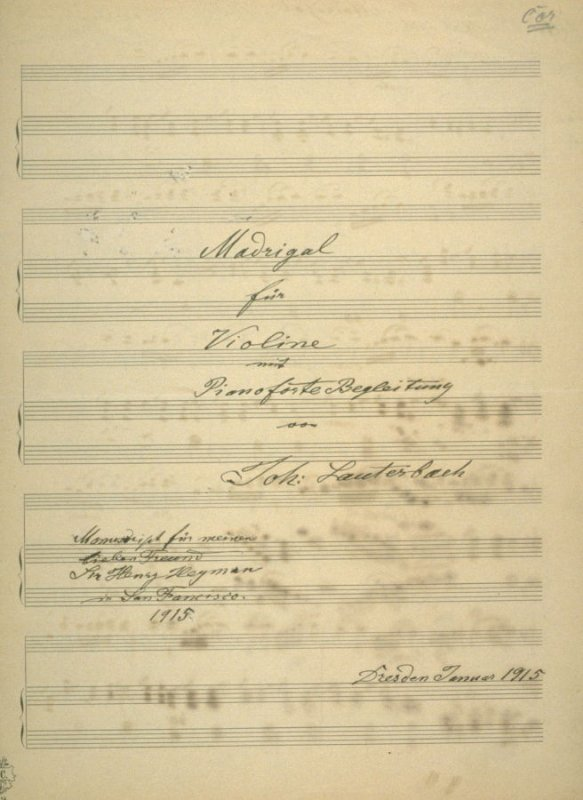Madrigal for Violin and Piano forte composed by Johannes Lauterbach