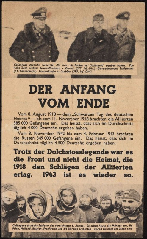 """Der Anfang vom Ende"" (The beginning of the end), Allied propaganda leaflet trageting the German front-line troops"
