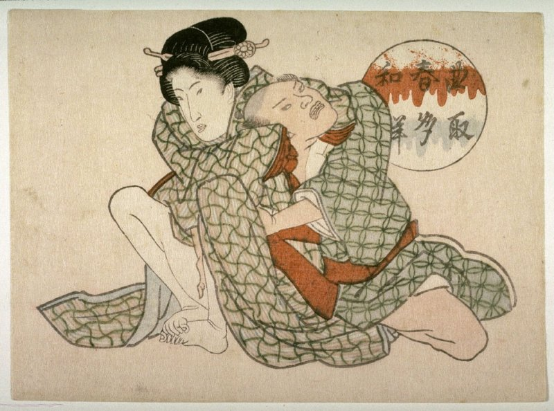 Seated woman and kneeling man