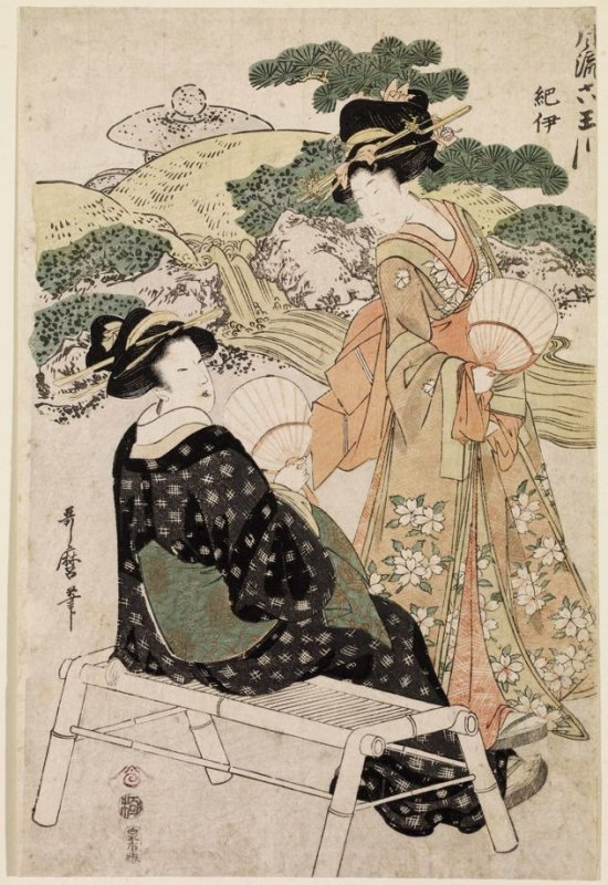 Two Women with Fans beside a Stream, from the series The Six Elegant Tama Rivers