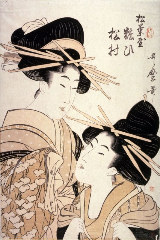 Yosooi and Matsumura of the Matsubaya from an untitled series of double portraits of courtesans