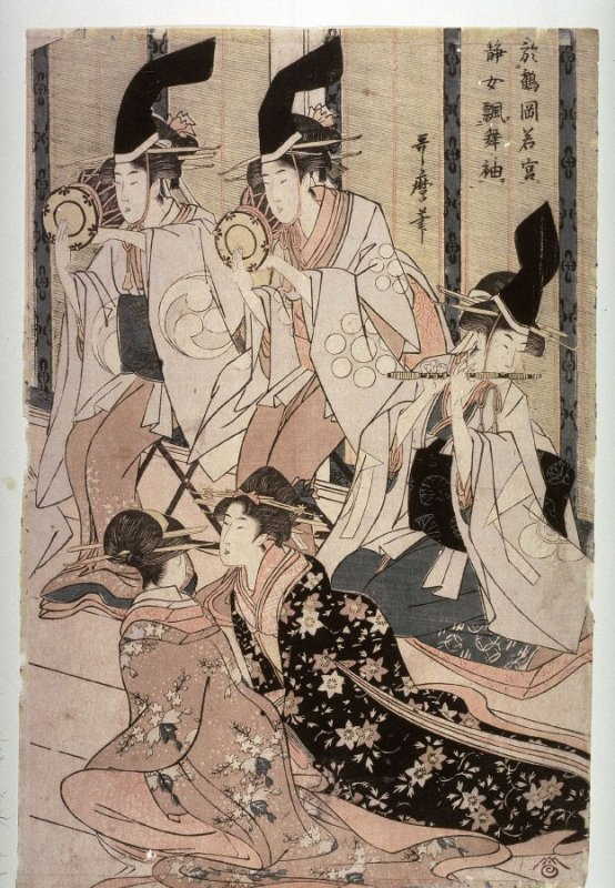Shizuka Gozen Tosses Her Sleeve as She Dances Before Yoritomo at the Palace in Tsurugaoka (Tsurugaoka wakamiya ni oite shizukajo sode o mai) ,right panel of a diptych