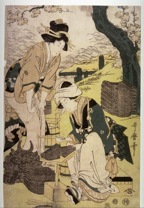 Women Making Roof Tiles, panel from a triptych