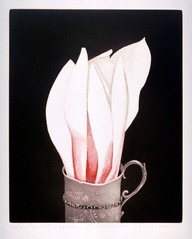 Silver Cup with Magnolia