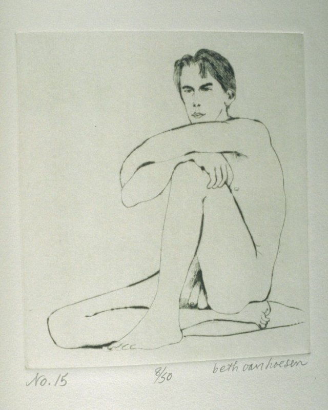 J. seated, pl. 15 from the bound portfolio, The Nude Man (Berkeley: Crown Point Press, 1965)