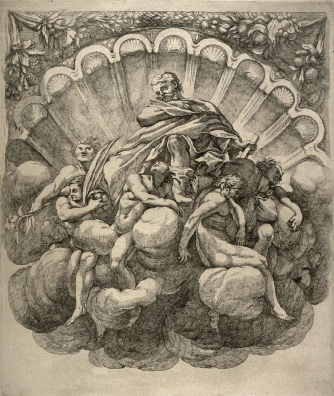 Saint Surrounded by Seven Angels, after the painting by Correggio in the dome of the Parma cathedral