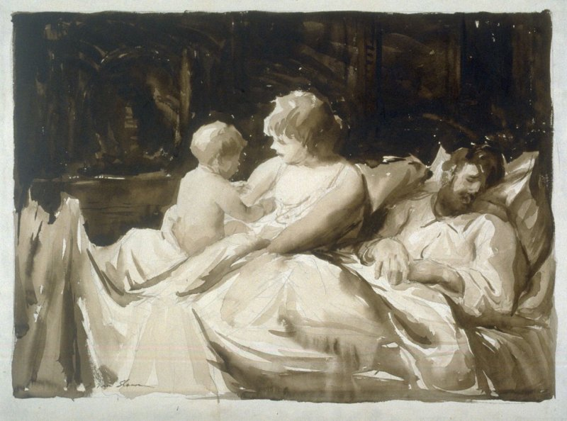 Parents and Child in Bed