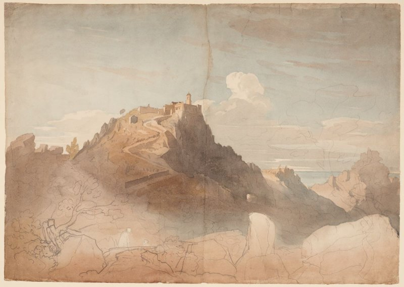 Unfinished view of monastery/fortification [imaginary?] upon a rocky peak with a road climbing to its entrance, the sea beyond