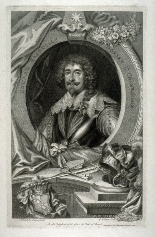 Portrait of Edward Sackville, Earl of Dorset, Chamberlain, from the series 'The Heads of Illustrious Persons of Great Britain, Engraved by Mr. Houbraken and Mr. Vertue, with their Lives and Characters by Thomas Birch'