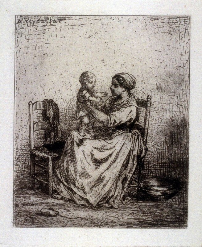 Woman with infant on her knees