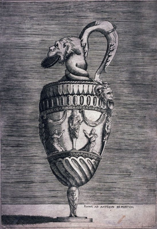 Ewer with a Grotesque Head (copy in reverse of an engraving by Enea Vico)