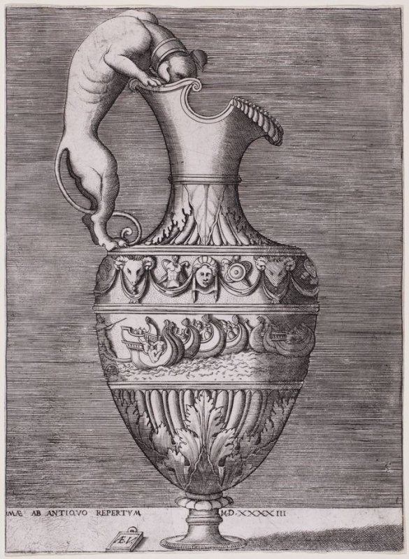 Ewer with a Handle in the Form of a Dog, pl. II from a series of different vases drawn after the antique