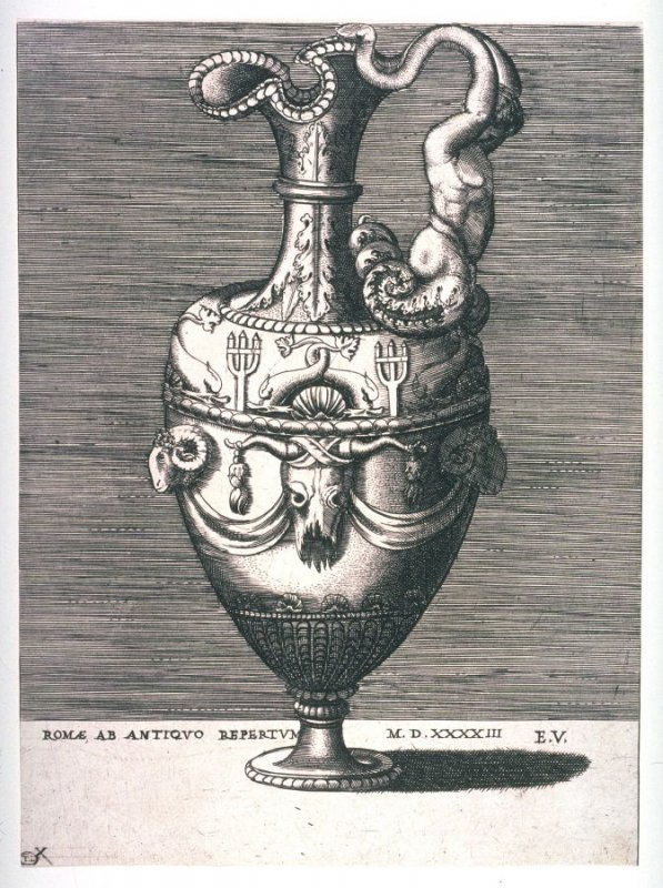 Ewer with a Figure, Rinceaux and Dolphins, pl. X from a series of different vases drawn after the antique