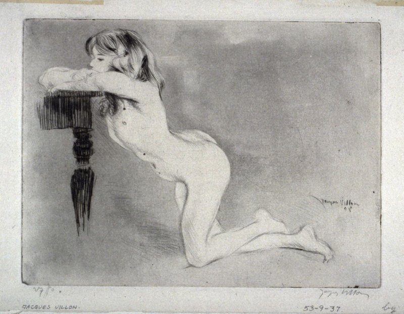 Kneeling nude girl, leaning over a tableside