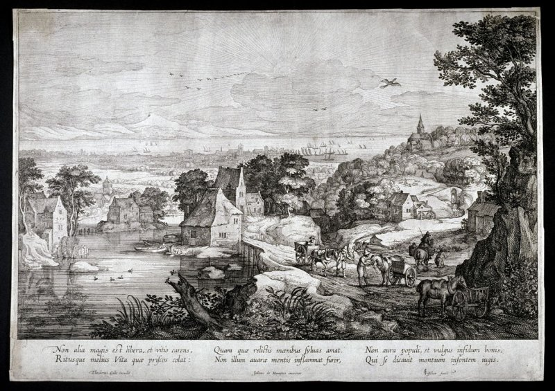 Landscape with view of a port and seacoast