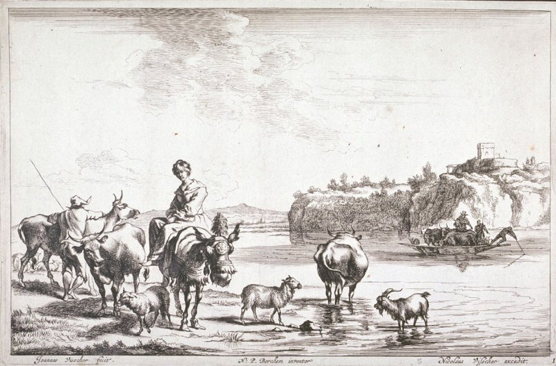 [Woman on a mule surrounded by animals waiting to cross a river] (Plate 1)