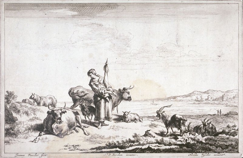 [Woman surrounded by cattle and sheep] (Plate 3)