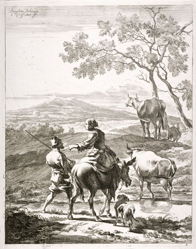 Woman on back of mule, man next to her about to cross a small stream, dog and cattle