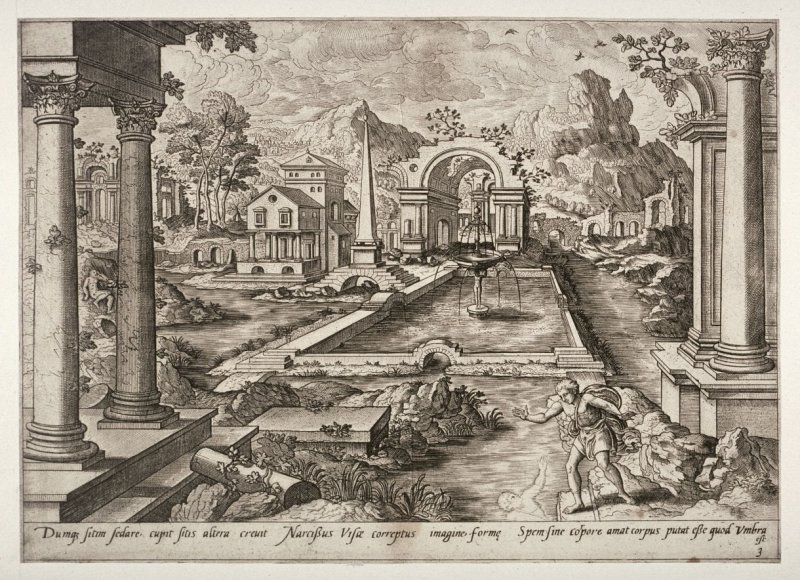 [Narcissus sees his reflection in the water] (Plate 3)