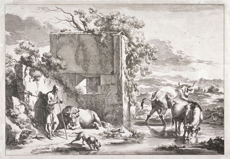 Old Herd Leaning on His Staff Near an Old Wall from a series of Pastoral Landscapes