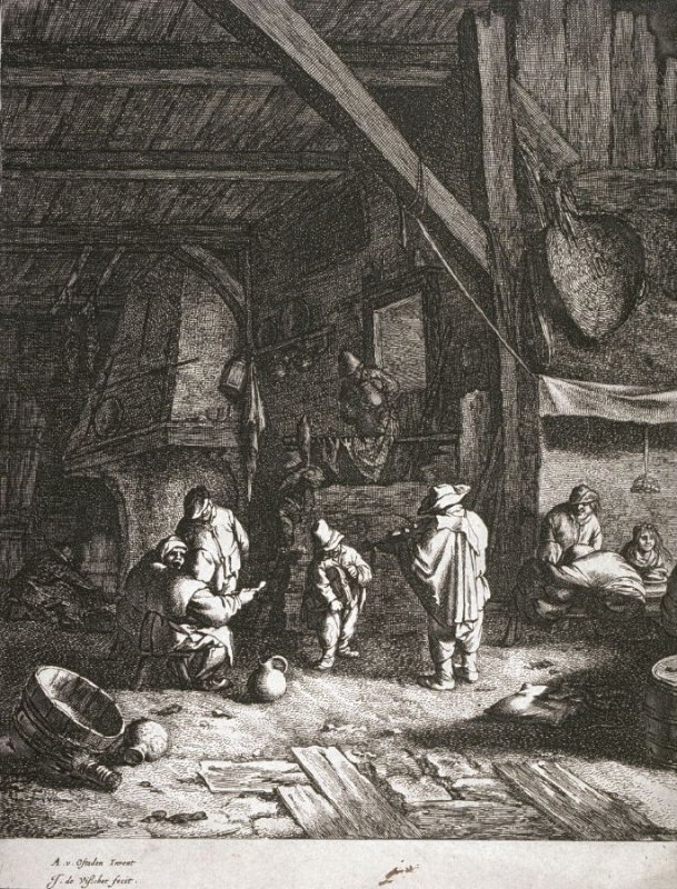 [Interior of peasant house, with bride and fiddler]