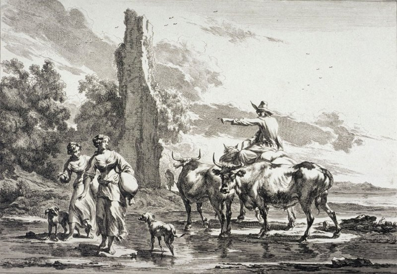 Mounted Herd and Two Girls Crossing a Ford from a series of Pastoral Landscapes