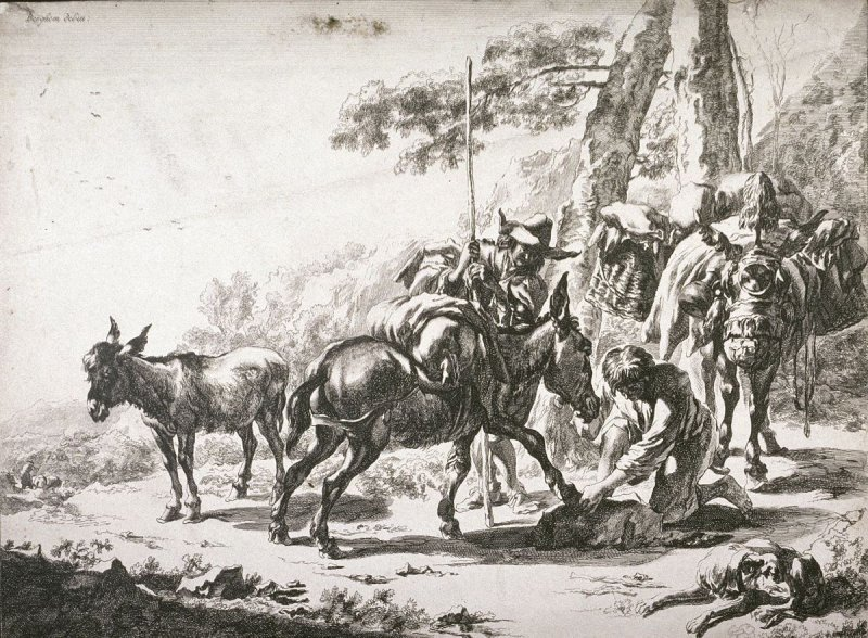 Farrier Shoeing a Donkey from the series Landscapes with Quadrupeds (reverse copy)