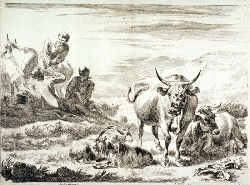 One of a set of 4 landscapes with cattle, sheep and shepherds (Plate 3)
