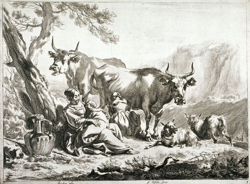 One of a set of 4 landscapes with cattle, sheep and shepherds (Plate 4)