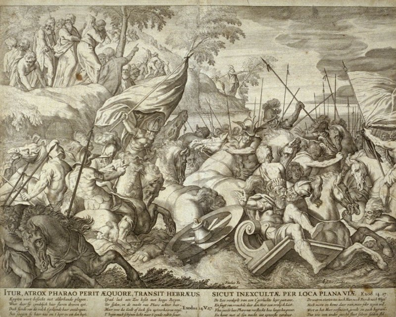 Itur Atrox Pharao Perit Aequore...(The Waters of the Red Sea Destroying the Egyptians), Exodus 14:27, from a group of Biblical illustrations printed by C. J. Visscher