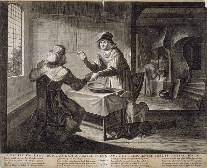 Suscipit en Esau Rubicundam a Fratre Polentam...(Esau Selling His Birthright to Jacob for a Bowl of Porridge), Genesis 25:26, from a group of Biblical illustrations printed by C. J. Visscher