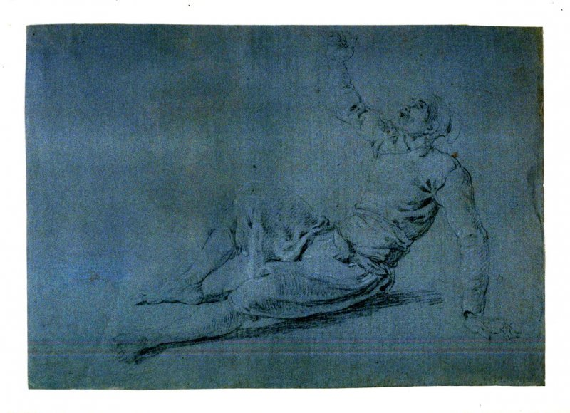 Study of a Half-Reclining Male Figure, with Right Arms Raised