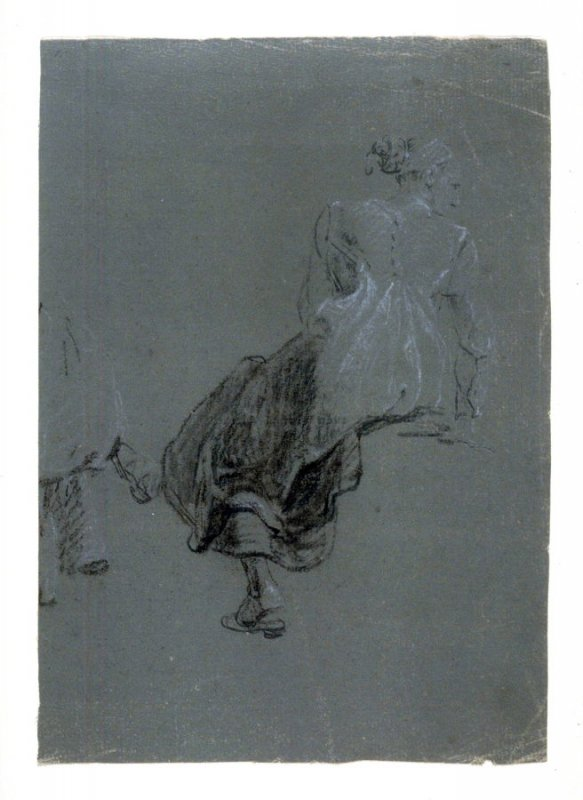 Study of a seated female figure , swinging her right leg, viewed from the rear