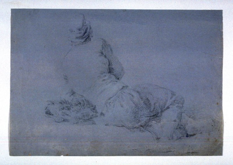 Half reclining male figure, viewed from the rear
