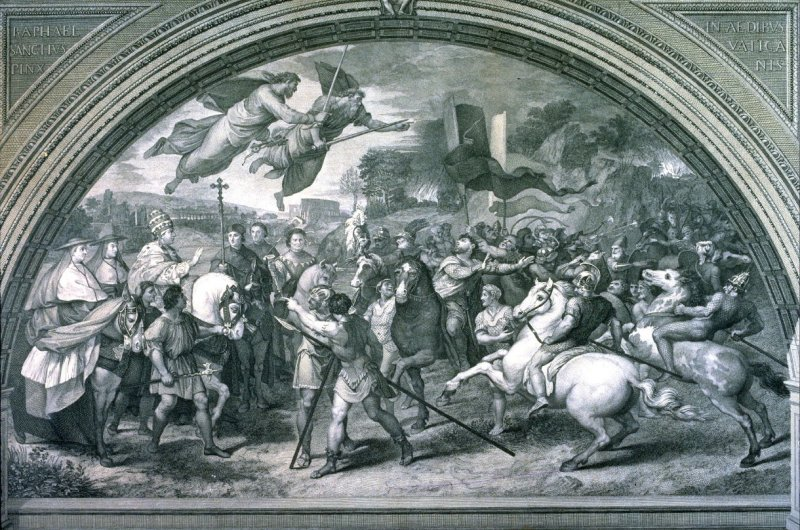 Saint Leo the Pope and Attila, after the fresco by Raphael in the Vatican Stanze