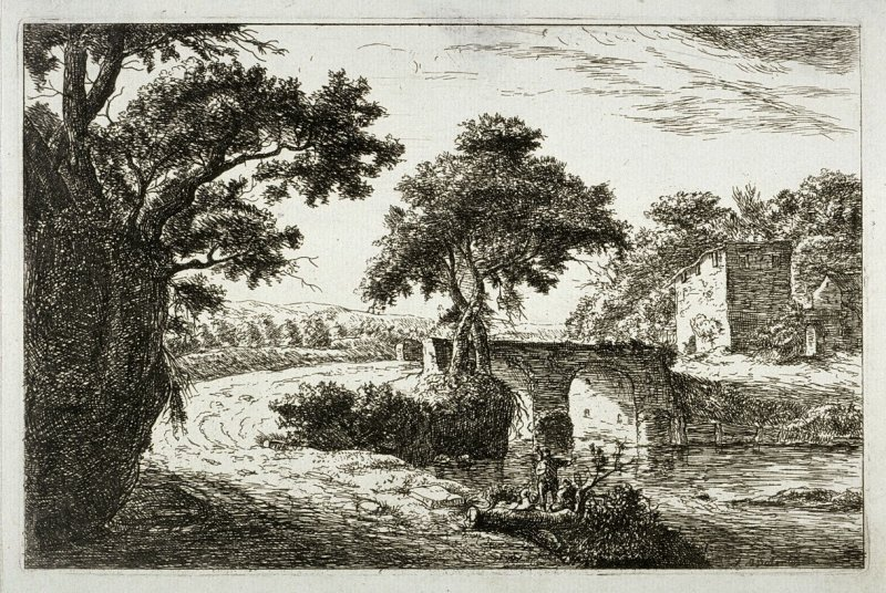 Landscape with bridge and three figures