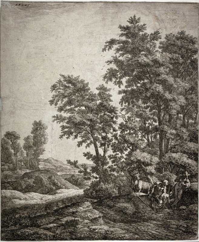 Landscape with Mercury playing flute for a seated man