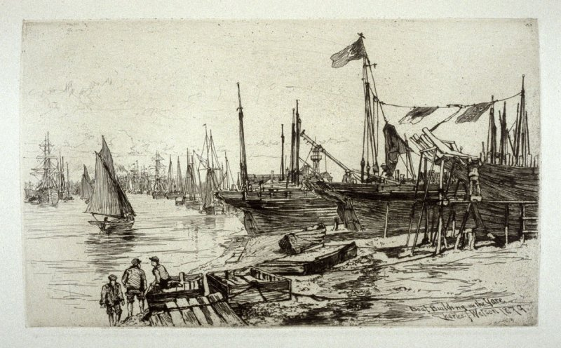 Boat-Building on the Yare, plate 4 in the book, The Etcher (London: Sampson Low…, 1880), vol. 2 [bound in same volume as vol. 1, 1879]