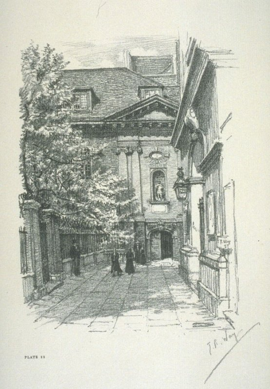 Christ's Hospital, The Entrance Doorway], frontispiece and plate 11 in the book Later Reliques of Old London with introduction and descriptions by Henry B. Wheatley (London: George Bell & Sons, 1897)
