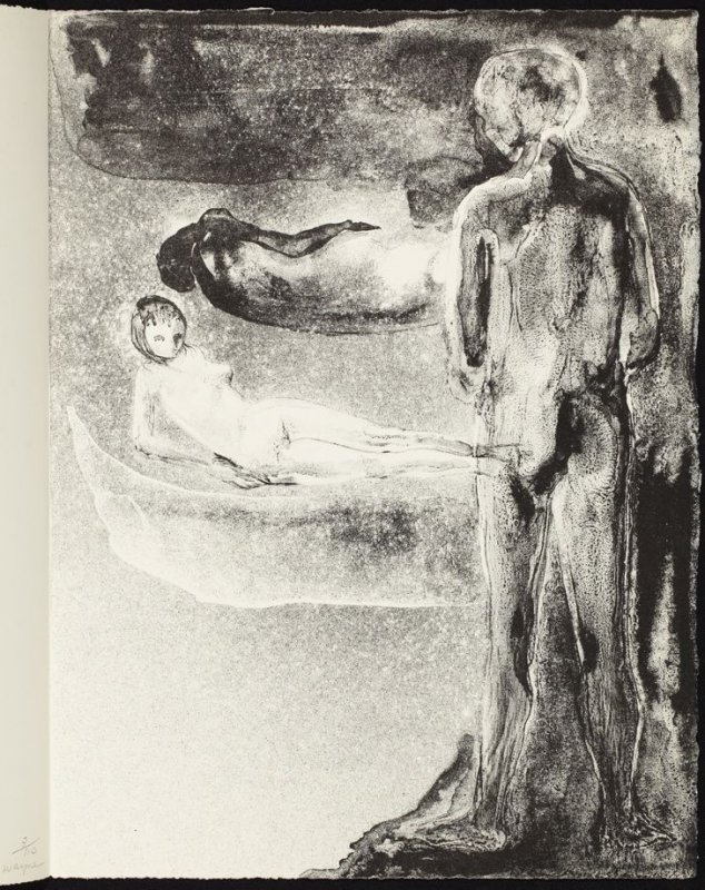 The Apparition first rejected lithograph, sixteenth plate in the portfolio Songs and Sonnets by John Donne (Paris: 1959)