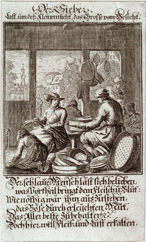 Der Sieber, plate 95 from the book Etwas für Alle … Stands- Ambts- Bewerbs-Persohnen…by Father Abraham à Santa Clara (Nuremberg: Christoph Weigel, [1699])